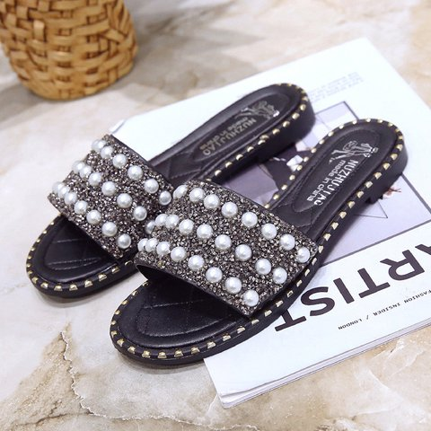 Imitation Pearls Chic Flat Slide Sandals