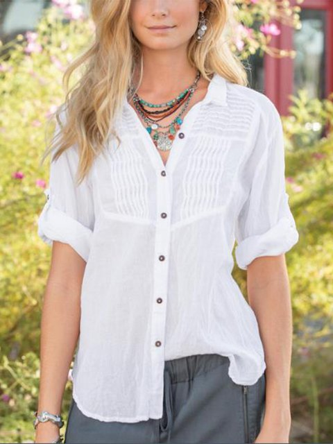 Women's V-neck Casual Shirts Comfort Short Sleeve Solid Blouse