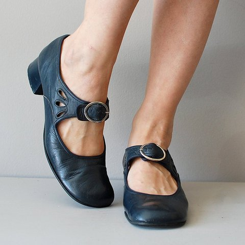 0ed690cc5088b Mary Janes Blue Summer Low Heel Vintage Women Shoes
