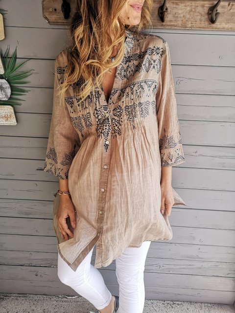 Holiday Tribal Printed Stand Collar 3/4 Sleeve Buttoned Blouse