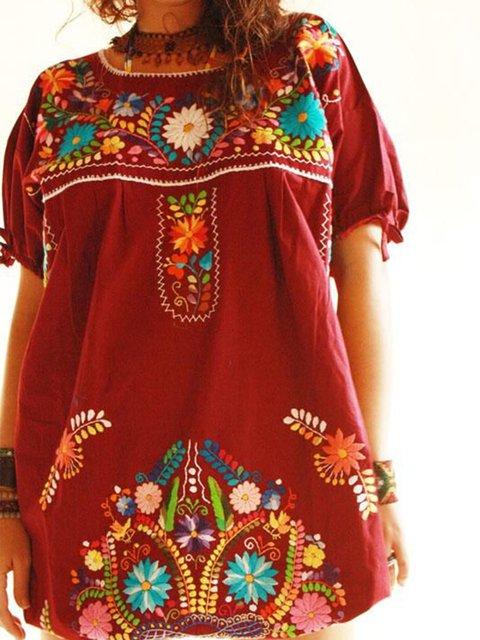 Women Boho Cotton Short Sleeve Crew Neck Dresses
