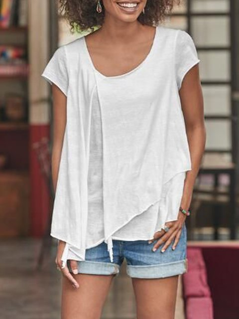 White Short Sleeve Solid Cutout Shirts & Tops