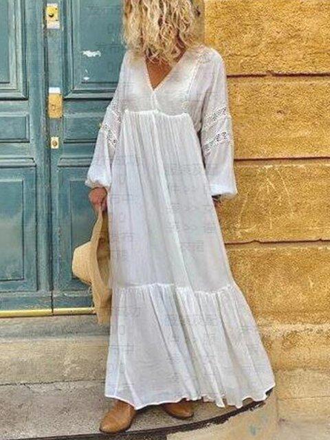 White Sweet V Neck Dresses