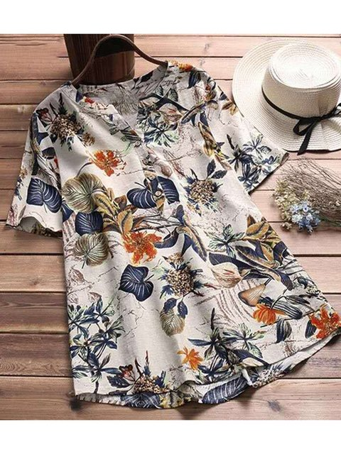 Women Summer Shirts Short Sleeve Casual Printed Tops