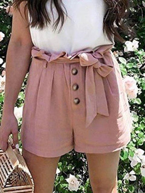 Women Summer Shorts Casual Buttoned Plain Pants