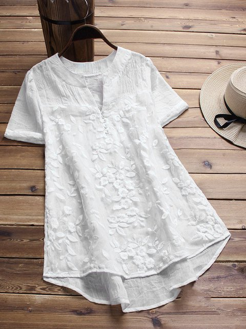 Women Summer Blouses Casual Short Sleeve Plain Blouses