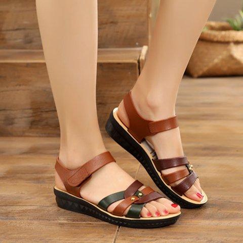 Color Block Magic Tape Flat Sandals Women