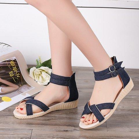 Denim Ankle Strap Sandals Low Heel Casual Womens Sandals