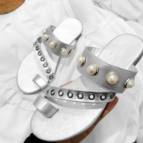 99296c8d25e Justfashionnow Pearl Flip Flop Flat Slip-On Women Sandals Plus Sizes