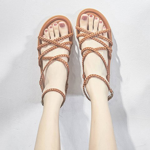 Braided Buckle Straps Flat Sandals Women