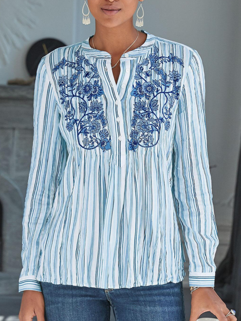Striped Floral-print Long Sleeve Shirts & Tops