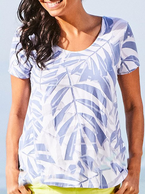 1f1b1ff7b85dcf Women Tops Summer Outfits Summer T-shirts Plus Size Leaf Print Women Summer  Basic Tee - JustFashionNow.com