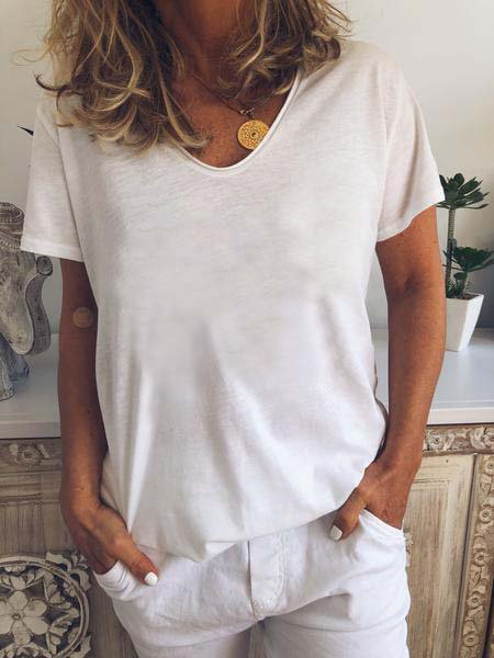 Cotton Short Sleeve V Neck Shirts T-shirts