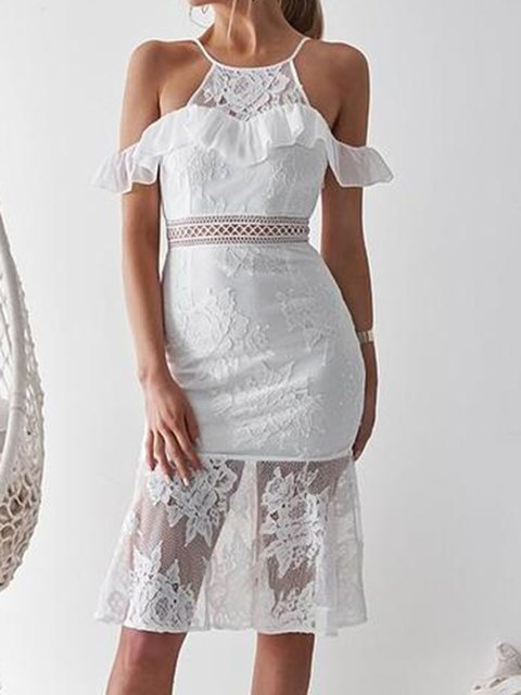 Lace Cold Shoulder Ruffled Daily Sexy Women Summer Dresses