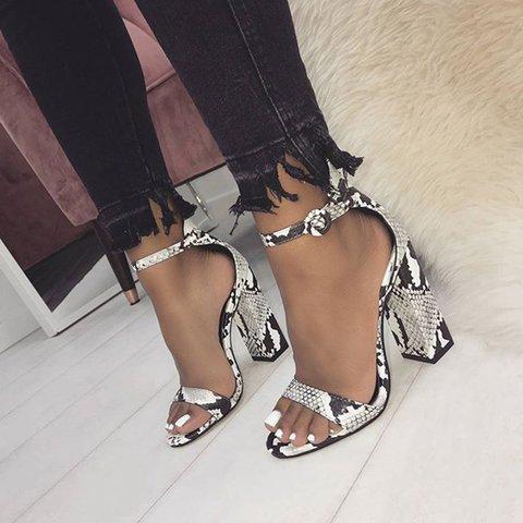 Women Casual Snakeskin Chunky Heel Buckle Sandals
