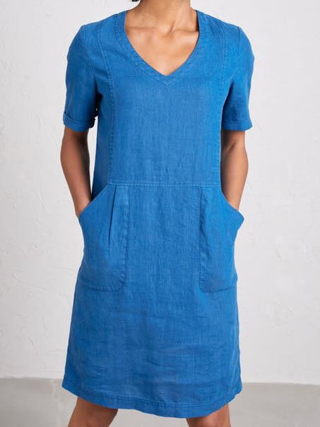 Solid Pockets Sweetheart Dresses Shift Daily Dresses
