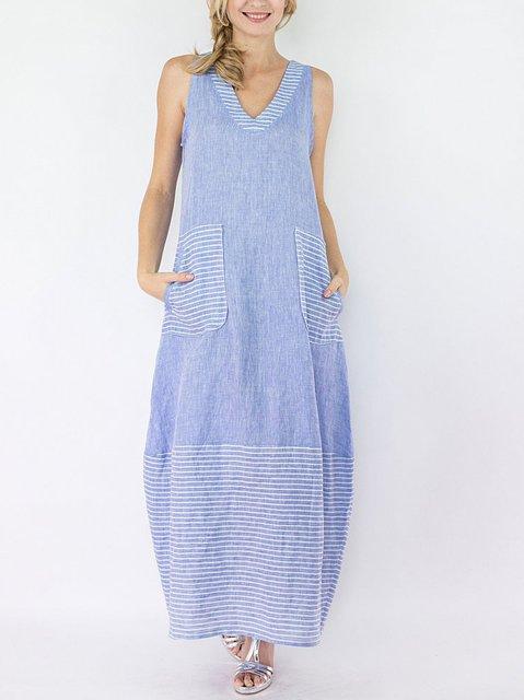 V Neck Casual Sleeveless Linen Dresses