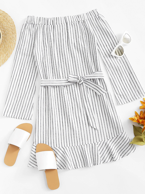 Bow Printed Striped Off Shoulder A-Line Daily Dresses