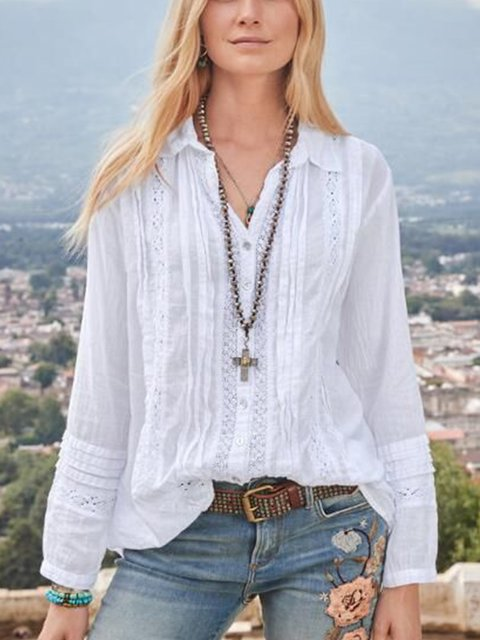 White Cotton-Blend Casual Shirts & Tops