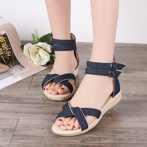 Denim Zipper Back Ankle Straps Sandals Women
