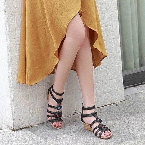 Women Rhinestone Deocr Wedges Sandals
