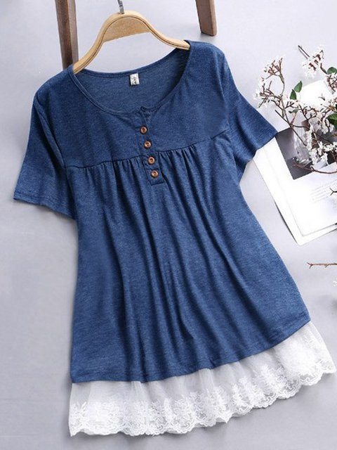 Women Blouses Paneled Front Buttons Pleated Casual Tops