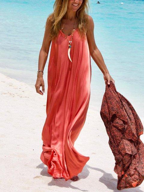 Plus Size  V-neck Sleeveless Casual Sling  Long  Dress