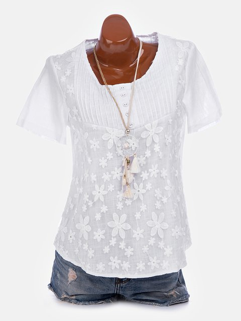Sweet Plus Size Short Sleeve Embroidered V Neck 2019 Summer T-Shirts Tops