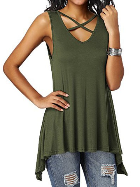 Summer Tanks Modal Asymmetric Lace-up Front Sleeveless Tops