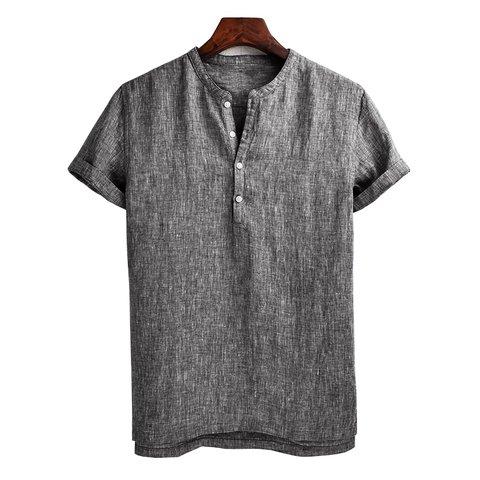 2e5dd2ed44a Men s Cotton Linen T-shirt Summer Henry Collar Short Sleeves Breathable Tops  - JustFashionNow.com