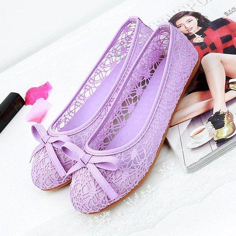Womens Mesh Bowknot Flats Low Heel Slip On Shoes