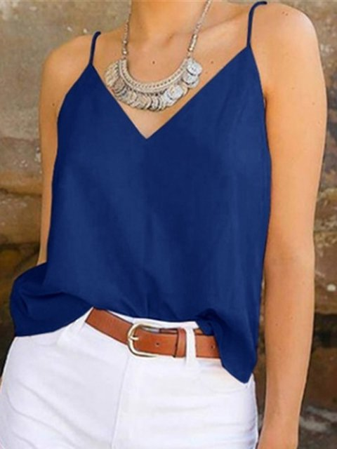 Summer Camis V-Neck Spaghetti-Strap Solid Tops