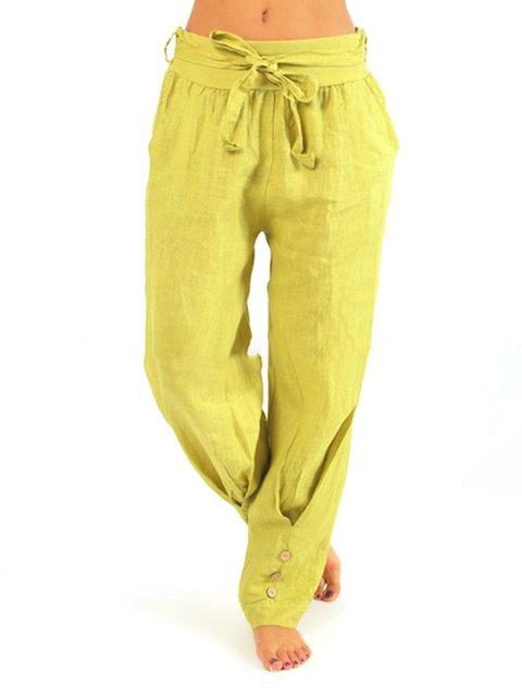 Women Pants Pockets Buttons Details Casual Pants