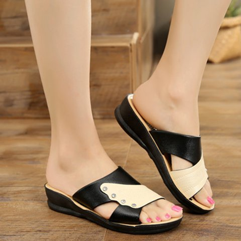 Color Block Non-Slip Slippers Women