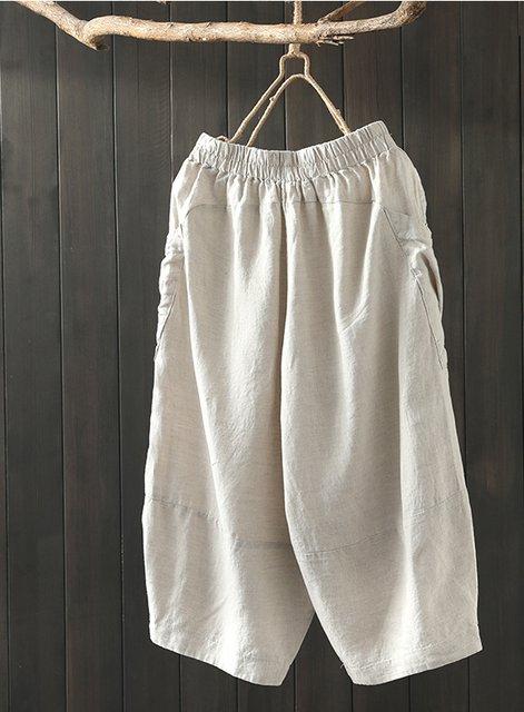 Women Cotton-Blend Casual Pants