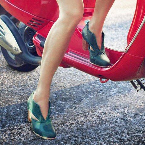 Cutout Low Heel Oxford Shoes Women Daily Pumps