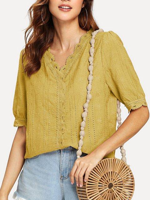 V Neck Half Sleeve Embroidered Shirts & Tops