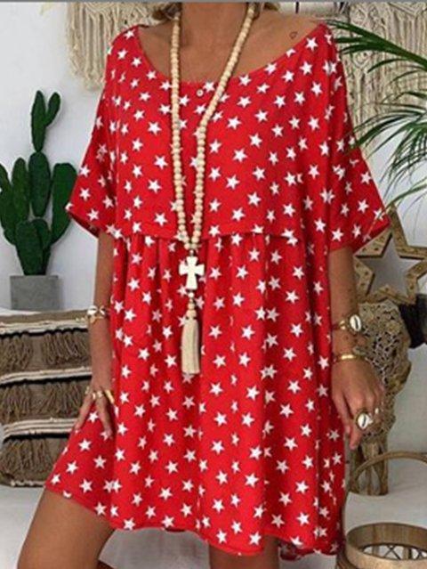 Crew Neck Women Summer Dresses Shift Daily Geometric Dresses