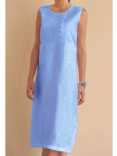 Pockets Linen Sleeveless Casual Dresses