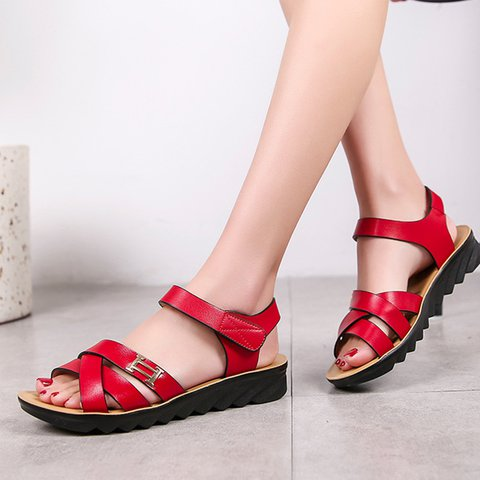 c3e9960665e Justfashionnow Sandals Casual Round Toe Beige Flat Heel Sandals