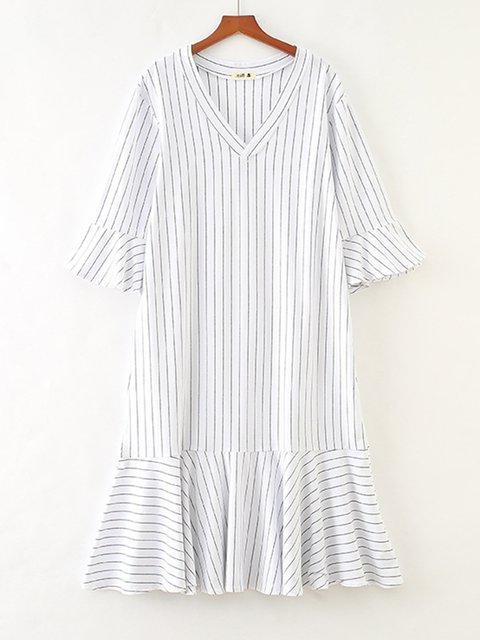V Neck Women Dresses Paneled Striped Dresses