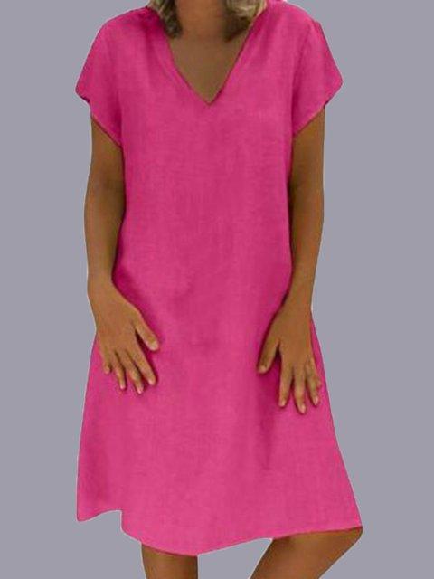 Casual Short Sleeve Cotton V Neck Dresses