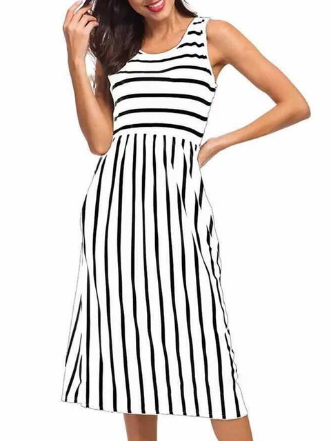 Stripe Sleeveless Casual Women Summer Midi Dresses