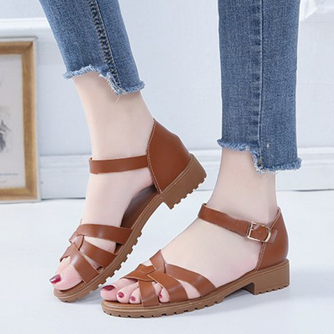 Women's Cross Strap Low Heel Buckle Strap Sandals