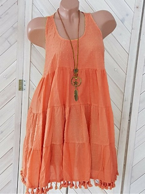 Plus Size Solid Sleeveless Beach Women Summer Dresses