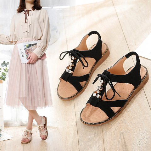 47875b0bdc21 Justfashionnow Sandals Casual Flat Heel Open Toe Lace-Up Off White ...