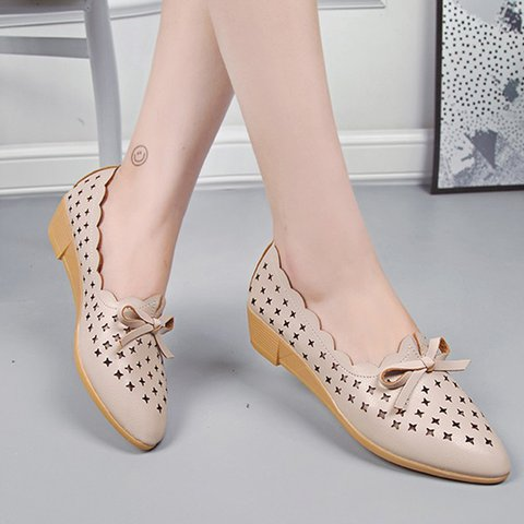 Breathable Hollow-out Slip-On Shoes Wedge Flats