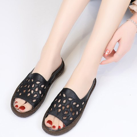 Hollow Out Reversible Flat Shoes Women