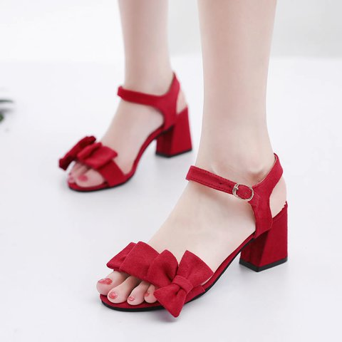 Women's Sweet Style Bowknot Chunky Heel Buckle Strap Sandals