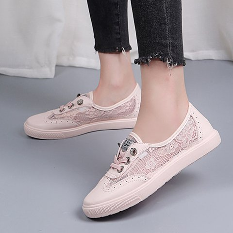 Casual All Season Lace-Up Split Joint Comfy Athletic Sneakers